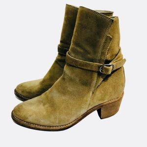 All Saints Beige Suede Ankle Wrap Strap Booties 6